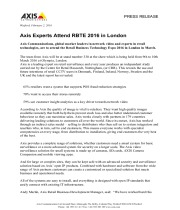 Axis Experts Attend RBTE 2016 in London