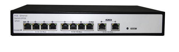 8-Port Gigabit PoE Switch with Extra 2-port 10/100/1000M UPLINK RJ45