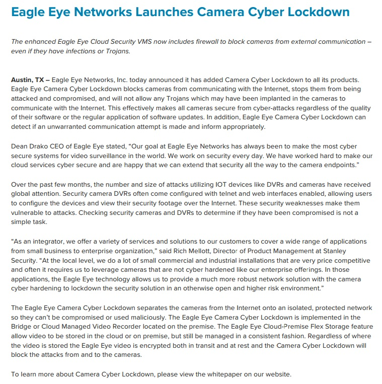 Eagle Eye Networks Launches Camera Cyber Lockdown