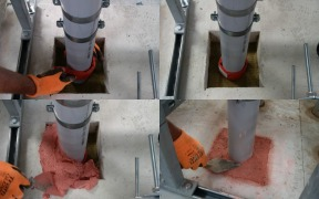 Fire protection compound or site mixed concrete / screed as backfill around service penetrations?