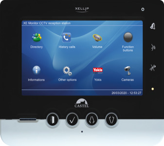 Full-IP audio video intercom monitor designed for small to medium-sized offices and service industry buildings