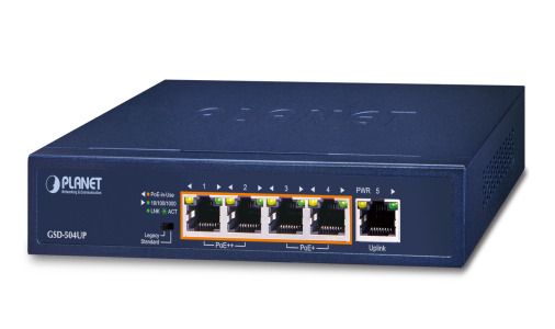 GSD-504UP -- 2-Port 10/100/1000T 802.3bt PoE + 2-Port 10/100/1000T 802.3at PoE + 1-Port Gigabit Desktop Switch (External 120 Watts)