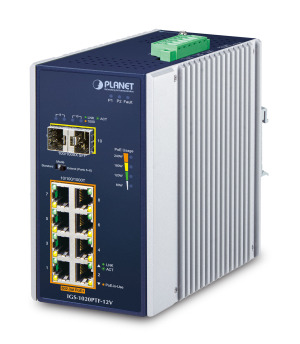 IGS-1020PTF-12V -- Industrial 8-Port 10/100/1000T 802.3at PoE + 2-Port 100/1000X SFP Ethernet Switch w/ 12V Booster (-40~75 degrees C)