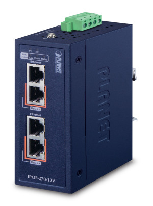 IPOE-270 / IPOE-270-12V -- Industrial 2-port Multi-Gigabit 802.3bt PoE++ Injector Hub