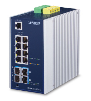 IGS-6325-8T4X -- Industrial L3 8-Port 10/100/1000T + 4-Port 10G SFP+ Managed Ethernet Switch