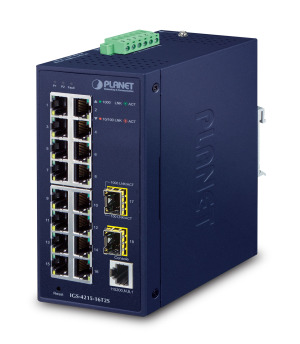 IGS-4215-16T2S -- Industrial L2/L4 16-Port 10/100/1000T + 2-Port 100/1000X SFP Managed Switch