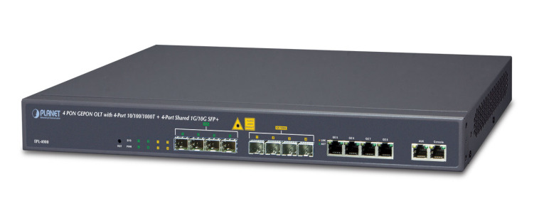 EPL-4000 -- 4 PON GEPON OLT with 4-Port 10/100/1000T + 4-Port Shared 1G/10G SFP+
