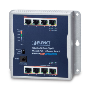 WGS-818HP -- Industrial 8-Port 10/100/1000T Wall-mounted Gigabit PoE+ Switch