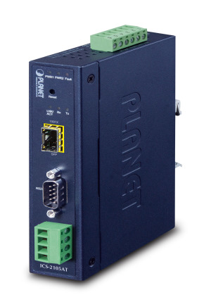 ICS-2105AT -- Industrial 1-port RS232/422/485 Serial Device Server with 1-Port 100BASE-FX SFP