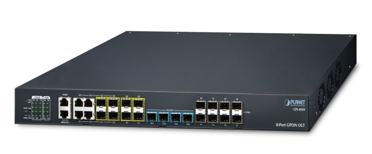 GPL-8000 -- 8-Port GPON OLT with 4-Port Gigabit TP/SFP Combo + 4-Port 1000X SFP + 4-Port 10G SFP+
