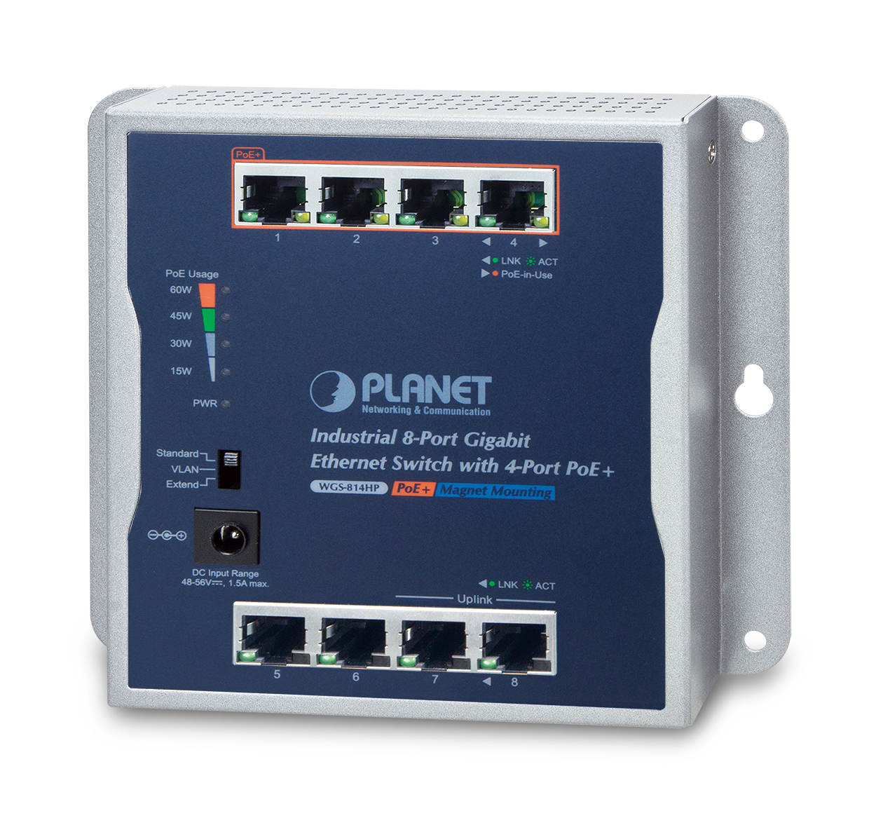 WGS-814HP -- Industrial 8-Port 10/100/1000T Wall-mounted Gigabit Switch with 4-port PoE+