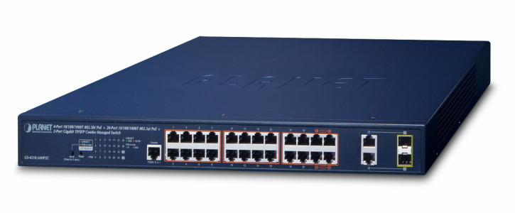 GS-4210-24HP2C -- 4-Port 10/100/1000T 802.3bt PoE + 20-Port 10/100/1000T 802.3at PoE + 2-Port Gigabit TP/SFP Combo Managed Switch
